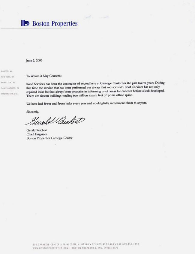 Letters Of Recommendation | Roof Services Company