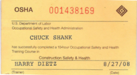 Somerset roofing roof services company chuck shank for Osha 10 certificate template